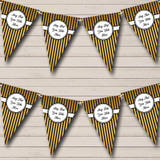 Black And Gold Elegant Stripes Christmas Party Bunting