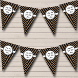 Black And Copper Gold Glitter Chevrons Christmas Party Bunting