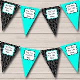 Turquoise Teal Aqua And Black Hearts Valentine's Party Bunting