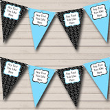 Sky Blue And Black Hearts Valentine's Party Bunting