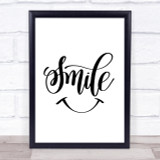 Smile Quote Print Poster Typography Word Art Picture