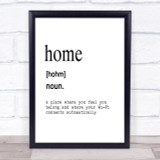 Word Definition Home Quote Print Poster Typography Word Art Picture