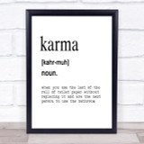 Word Definition Karma Quote Print Poster Typography Word Art Picture