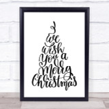 Christmas I Wish You A Merry Xmas Quote Print Poster Typography Word Art Picture