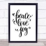 Christmas Peace Love Joy Quote Print Poster Typography Word Art Picture