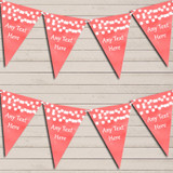 Dark Coral Watercolour Lights Tea Party Bunting Garland Party Banner