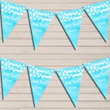 Aqua Blue Watercolour Lights Tea Party Bunting Garland Party Banner