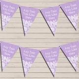 Lilac Purple Burlap & Lace Tea Party Bunting Garland Party Banner