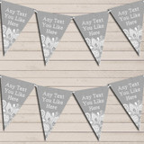 Silver Grey Burlap & Lace Tea Party Bunting Garland Party Banner