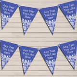 Dark Blue Burlap & Lace Tea Party Bunting Garland Party Banner