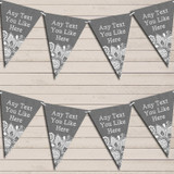 Dark Grey Burlap & Lace Tea Party Bunting Garland Party Banner