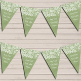 Burlap & Lace Green Tea Party Bunting Garland Party Banner