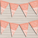 Coral Burlap & Lace Tea Party Bunting Garland Party Banner