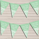 Green Burlap & Lace Tea Party Bunting Garland Party Banner
