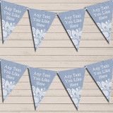 Blue Burlap & Lace Tea Party Bunting Garland Party Banner