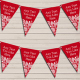 Red Burlap & Lace Tea Party Bunting Garland Party Banner