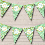 Vintage Mint Green And Gold Damask Wedding Bunting