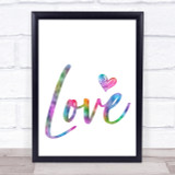 Rainbow Heart Love Quote Wall Art Print