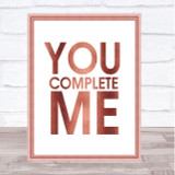 Rose Gold You Complete Me Jerry Maguire Quote Wall Art Print