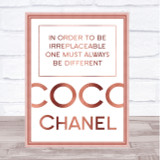 Rose Gold Coco Chanel Always Be Different Quote Wall Art Print