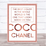 Rose Gold Coco Chanel Best Colour Quote Wall Art Print