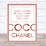 Rose Gold Coco Chanel Classy & Fabulous Quote Wall Art Print