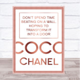 Rose Gold Coco Chanel Don't Spend Time Quote Wall Art Print