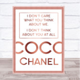 Rose Gold Coco Chanel Don't Care What You Think About Me Quote Wall Art Print