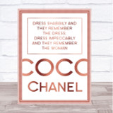 Rose Gold Coco Chanel Dress Impeccably Quote Wall Art Print