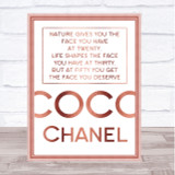 Rose Gold Coco Chanel The Face You Deserve Quote Wall Art Print