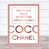 Rose Gold Coco Chanel Unfashionable Quote Wall Art Print