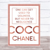 Rose Gold Coco Chanel Used To Ugliness Quote Wall Art Print