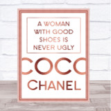 Rose Gold Coco Chanel Woman With Good Shoes Quote Wall Art Print