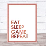 Rose Gold Eat Sleep Game Quote Wall Art Print