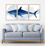 Great White Shark Watercolour Set Of 3 Wall Art Home Decor Picture Framed Prints