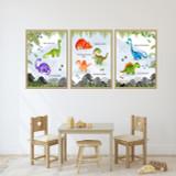 Watercolour Dinosaur Set Of 3 Children's Nursery Bedroom Wall Art Framed Prints