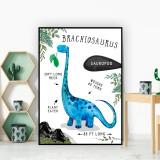 Brachiosaurus Dinosaur Facts Children's Nursery Kids Wall Art Print