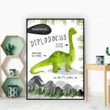 Diplodocus Dinosaur Facts Children's Nursery Kids Wall Art Print