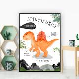 Spinosaurus Dinosaur Facts Children's Nursery Kids Wall Art Print