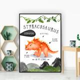 Styracosaurus Dinosaur Facts Children's Nursery Kids Wall Art Print