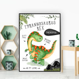 Tyrannosaurus Rex T-Rex Dinosaur Facts Children's Nursery Kids Wall Art Print