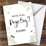 Page Boy Leaves Watercolour Will You Be My Page Boy Personalised Greetings Card