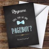 Chalk Blue Bow Tie Will You Be My Page Boy Personalised Greetings Card