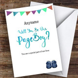 Black Watercolour Will You Be My Page Boy Personalised Greetings Card