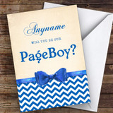 Blue Bowtie Will You Be My Page Boy Personalised Greetings Card