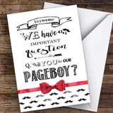 Moustache Will You Be My Page Boy Personalised Greetings Card