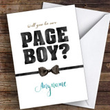 Bow Tie Will You Be My Page Boy Personalised Greetings Card