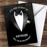 Tuxedo Will You Be My Page Boy Personalised Greetings Card
