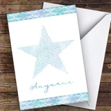 Blue Watercolour Star Will You Be My Ring Bearer Personalised Greetings Card