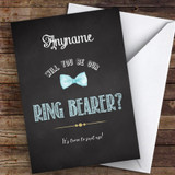 Chalk Blue Bow Tie Will You Be My Ring Bearer Personalised Greetings Card